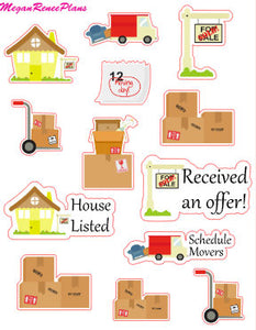 Moving / Moving Day / Selling Home / Buying Home / Realtor / Functional Planner Stickers