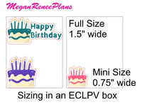 Happy Birthday Birthday Cake Planner Stickers  Birthday Planner Stickers - MeganReneePlans