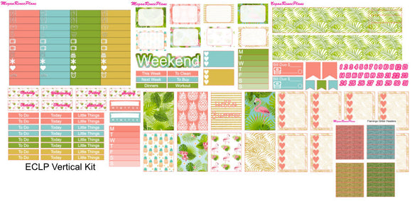 Flamingo Summer Weekly Kit for the Erin Condren Life Planner Vertical