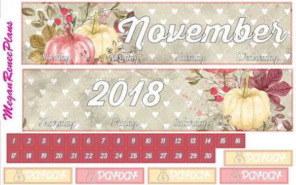 November 2018 Monthly Kit for the Erin Condren Life Planner or Classic Happy Planner