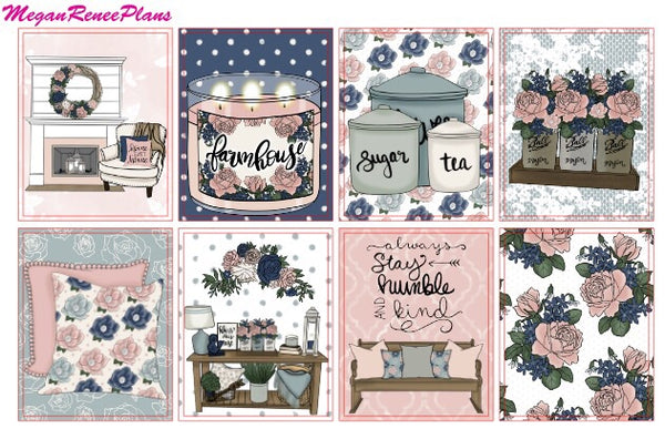 Farmhouse Chic Weekly Kit for the Erin Condren Life Planner Vertical - MeganReneePlans