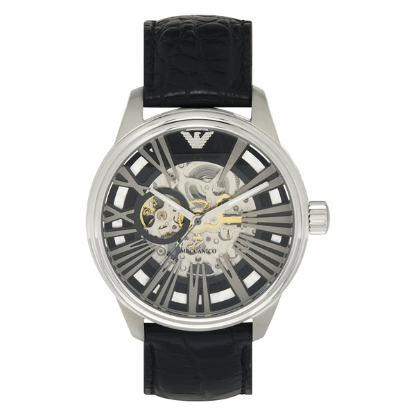 Watch by Emporio Armani - Mens AR4629 Black Leather Skeleton