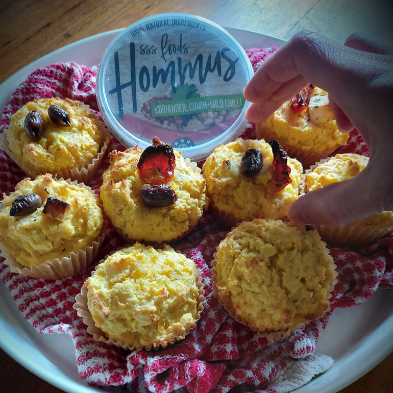 Corn and Hommus Muffins (makes 9 serves)