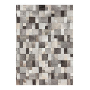 Grey leather area rug