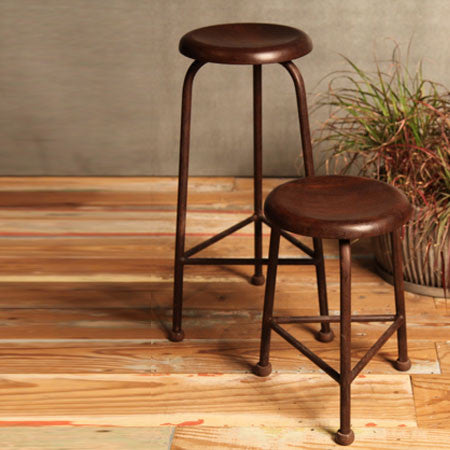 Black iron stool with wood seat