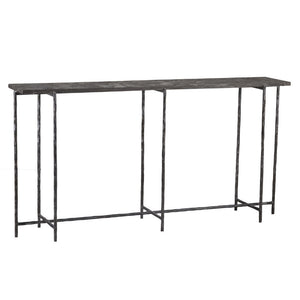 console table with iron frame