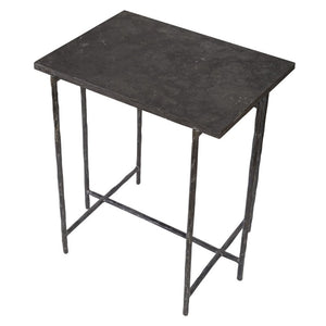 side table with iron frame