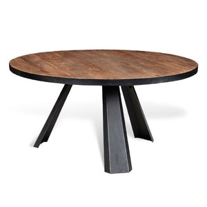 round metal dining table with wood top
