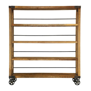 Reclaimed wood bookshelf on wheels