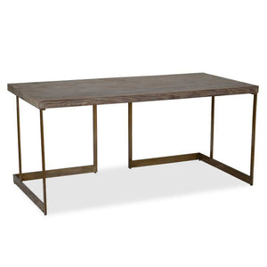 wood top desk with iron frame
