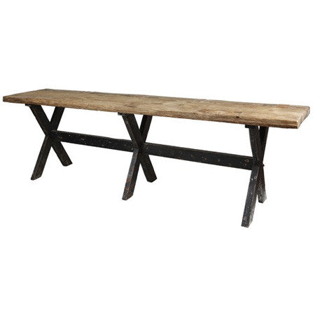 Reclaimed wood console pub table