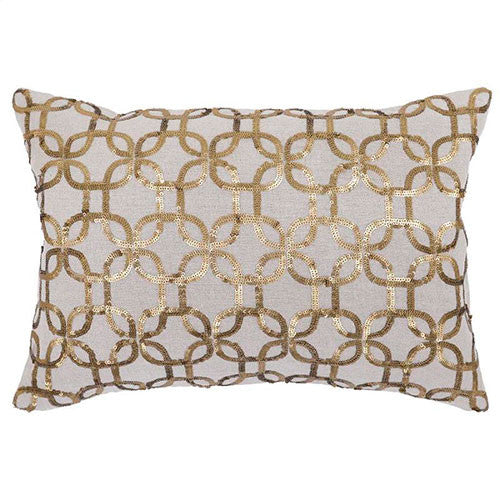 rectangular pillow with gold pattern