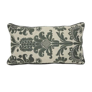 Pillow with dark grey printed and embroidered floral pattern