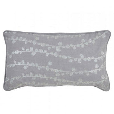 Silver embroidered grey lumbar pillow