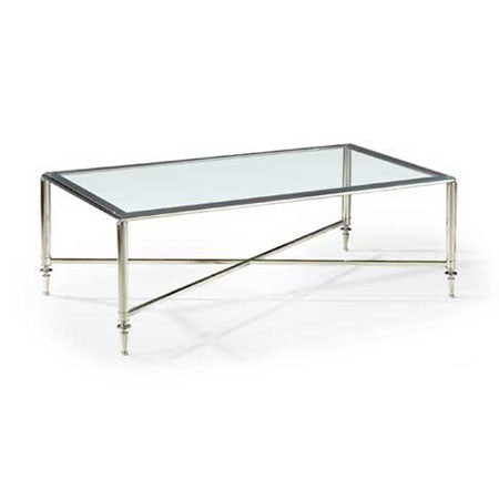 Polished steel coffee table with glass top
