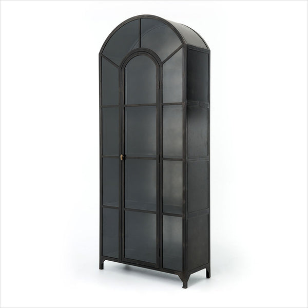 Arched Display Cabinet Industrial Black Metal And Glass