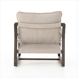 accent chair with cobblestone jute fabric and burnt birch wood frame