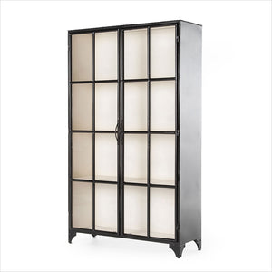 black metal display cabinet with glass doors