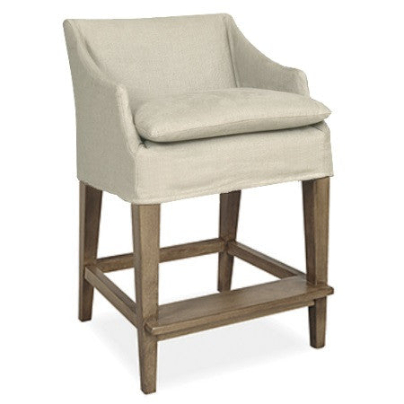 Counter Stool Wood Legs Slipcovered Seat Canvas