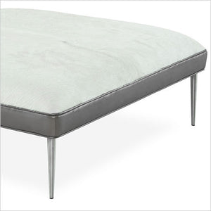 Square ottoman in white leather hide with bronze border