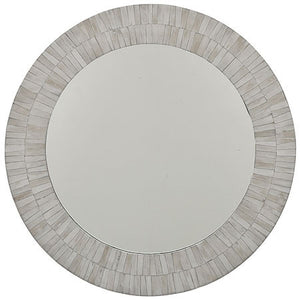 Round mirror in white bone veneer