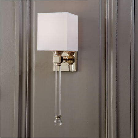 Crystal and polished silver wall sconce with white shade