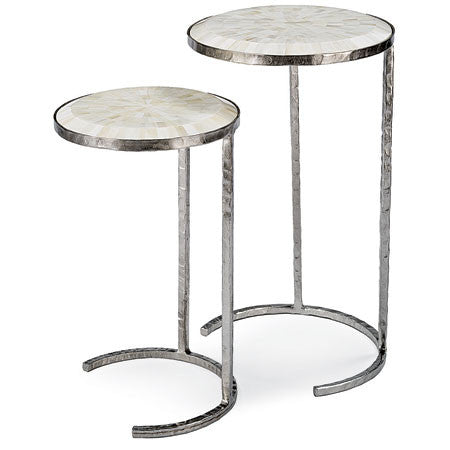 Nesting tables in silver metal with bone veneer inlayed top