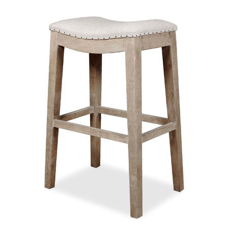 Wooden barstool with linen seat