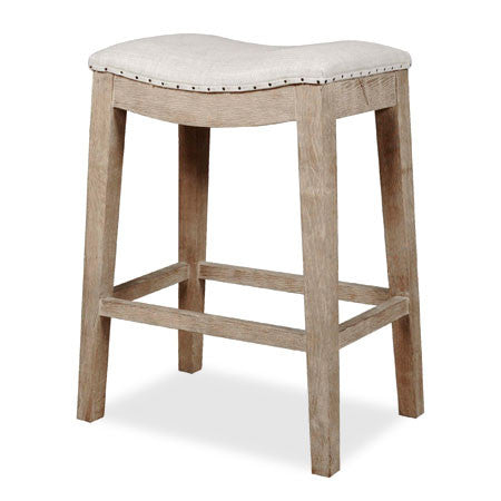 Counter stool in wood with fabric seat and nailhead trim