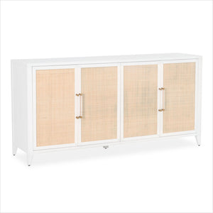 4-door sideboard with rattan