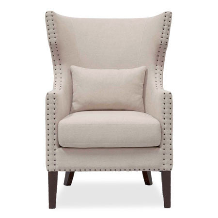 fabric accent chair with nail trim