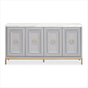 grey cabinet with marble top
