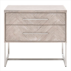 nightstand with herringbone inlay