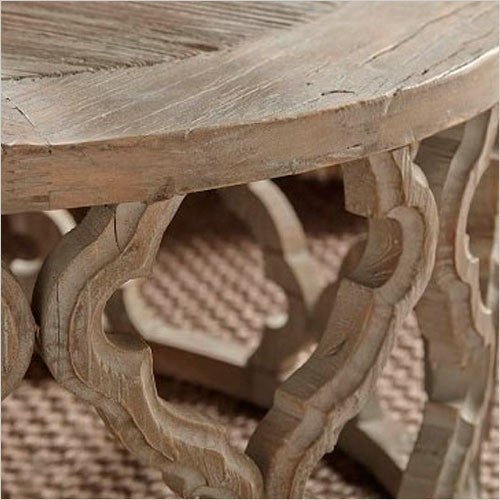 Maya Round End Table Elm Wood With Carved Design