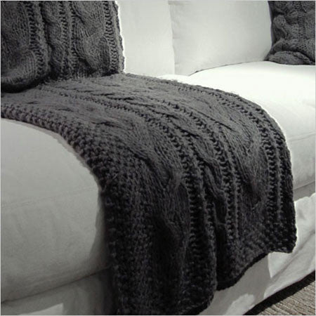 Knitted Throw Blanket Cable Knit In Grey Or Off White