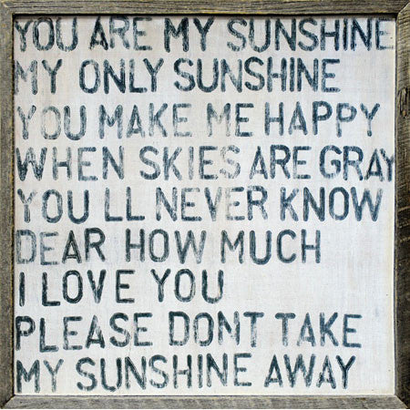 You Are My Sunshine Wall Art Reclaimed Wood Canvas