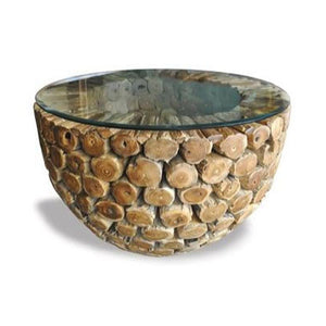 Round suarina wood coffee table with glass top