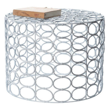 White ring accent table