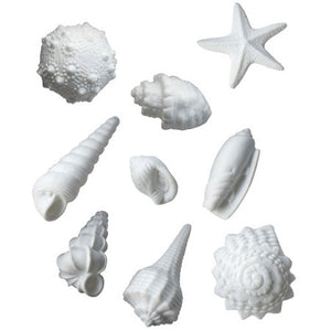Set of 9 sea shells in white porcelain