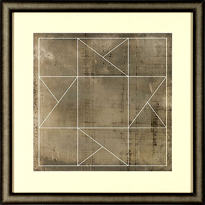 Framed wall art of geometric print