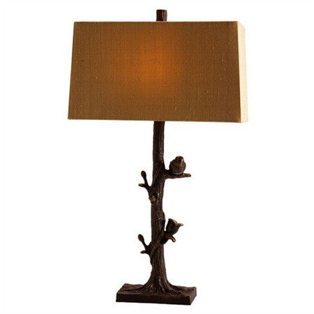 Iron table lamp designed as a branch with birds