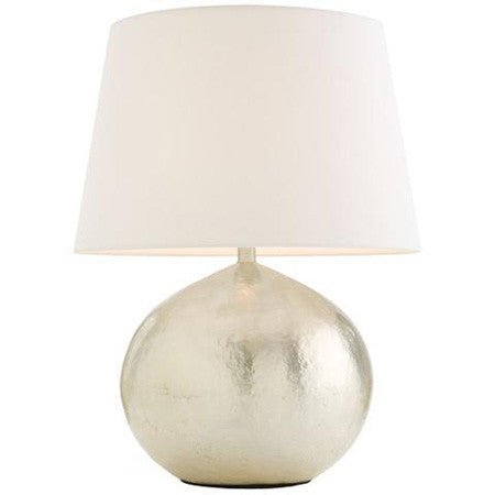 Metallic Table Lamp Matte Silver With White Shade Canvas