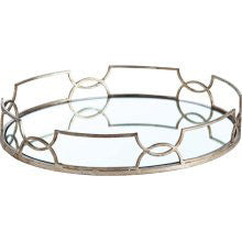 Silver leaf tray with mirrored bottom