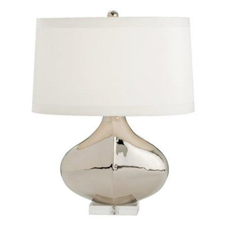 Polished silver nickel table lamp with oval white shade