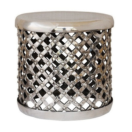 Silver Accent Table Polished Metal Can Act As A Stool