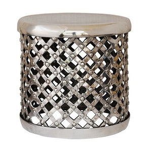 Polished silver metal drum stool
