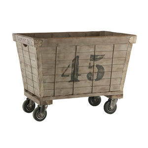 Rustic laundry cart on wheels