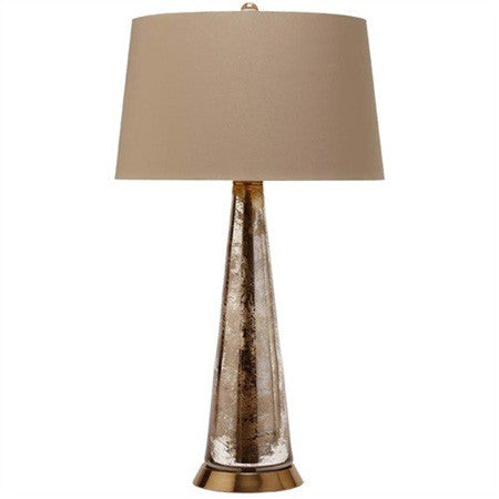 Mercury glass table lamp with khaki and leopard shade