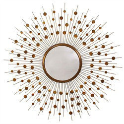 Starburst mirror in antique gold metal