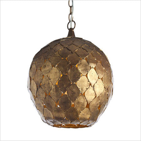 Iron and antiqued gold leaf hanging pendant light